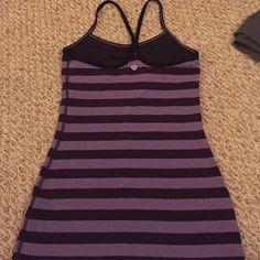 Lululemon tank Lululemon power Y tank. Dark purple stripes, worn twice. Amazing condition! Print not made anymore. lululemon athletica Tops Tank Tops