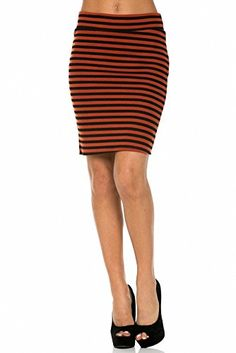 d589ca8d2b6 Sassy Apparel Womens Elastic Above Knee Stripes Design Pencil Skirt Large  Rust     You can find out more details at the link of the image.