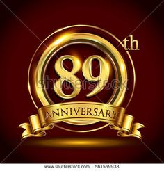 89th golden anniversary logo, eighty nine years birthday celebration with gold ring and golden ribbon.