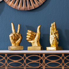 Found it at Wayfair - Gold Metallic Hand 3 Piece Figurine Set Zodiac Signs Pictures, Contemporary Decorative Objects, Hand Sculpture, Sculptures, Hanging Jewelry, Urban, Christmas Morning, Joss And Main, Home Decor Accessories