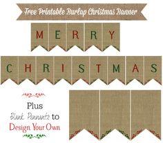 Free Printable Burlap Christmas Banner from KnickofTime.net