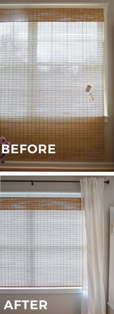 How to cut roman bamboo blinds to size that are too long using scissors. And how to add a privacy liner to bamboo blinds with a hot glue gun. Budget friendly DIY roman bamboo shades.