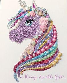 Beautiful mixed media Button art rainbow Unicorn