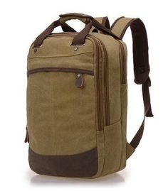 Good Quality Mountaineering Laptop Backpack Khaki Canvas bag For Students