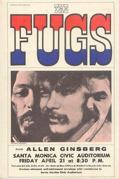 The Fugs plus Allen Ginsberg, Santa Monica Civic, 1967.  The Fugs were the first underground rock band of the 1960s with beat poets Ed Sanders and Tuli Kupferberg