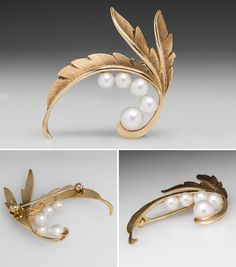 Pearl Brooch Pin Leaf Natural Motif 14K Gold