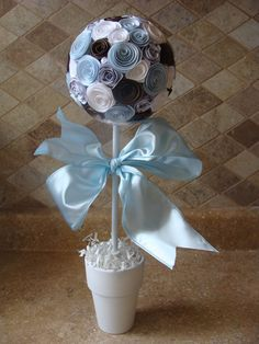 Baby Blue white and Brown Its A Boy Paper Rose by CreativeGoodz