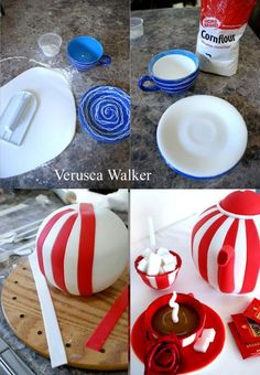 Tea pot by Verusca Walker Using a real tea cup and dish to make my fondant pieces. Is very simple, just mix your fondant with tylose, open it and put on top of the plate and inside de cup with a little bit of cornflower. It will take at least 1 day to dry. The pot is a wilton ball shape covered with fondant, and then I add the stripes and a foam ball lid. Spout and Handle also has to be made one day before. ;)