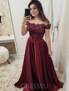 Burgundy off shoulder Lace Long Prom dress Burgundy Party Dress Evening dress Formal Gowns - 2020 New Prom Dresses Fashion - Fashion Of The Year Prom Dresses With Sleeves, A Line Prom Dresses, Event Dresses, Homecoming Dresses, Dress Prom, Long Dresses, Dress Long, Party Dresses, Floor Length Dresses
