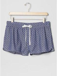 printed chambray sleep shorts / gap