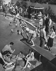 summer fun   poolside   swimming pool   party   bathers   swimmers   vintage   black & white  