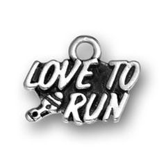 Sterling Silver Love to Run Running Charms. Sterling Silver Marathon Jewelry and Marathon Charms.
