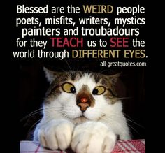 Blessed are the WEIRD people poets, misfits, writers, mystics painters and troubadours for they TEACH us to SEE the world through DIFFERENT EYES. #weird #teachers #life | all-greatquotes.com