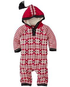 The classic Nordic hood and snowflake pattern make our supercrafted, soft romper extra irresistibly cute and everyday festive. Love that it's easy on, easy change and easy wash.  <br>•100% combed cotton yarns <br>•Sweaterknit in Scandi Fair Isle pattern  <br>•Tasselled hood   <br>•Raglan sleeves  <br>•Front button placket <br>•Snap legs for easy changes <br>•Machine wash <br>•Certified by Oeko-Tex® Standard 100 <br>•Imported