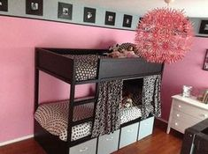 *I LIKE the curtain next to the ladder idea* IKEA Hackers: Kura & Maskros Hacks are the highlight of the new room for our 4 girls! Ikea Bunk Bed Hack, Ikea Kura Hack, Ikea Hacks, Kid Beds, Bunk Beds, Big Girl Rooms, Kids Rooms, Boy Rooms, Room Kids