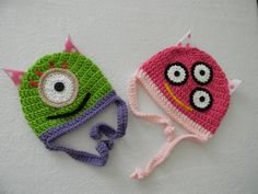 Crocheted Monster Hats. $28.00, via Etsy.
