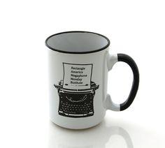 Mug de Ron Swanson machine à écrire Parks and par LennyMud sur Etsy