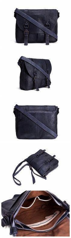 Handmade Vegetable Tanned Leather Men Messenger Bag, Crossbody Bag, Satchel Bag