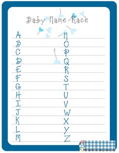 free printable baby name race game for boy baby shower