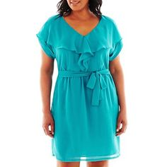 Short-Sleeve Ruffle-Front Dress - Plus - jcpenney $45