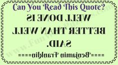 Riddle to read Quote backward