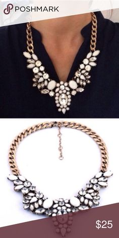🔥BEST SELLER🔥 White Floral Enamel Necklace gorgeous! One of my all time best sellers! Add some sparkle to your outfit!! All jewelry is buy 2 get 1 free! Jewelry Necklaces
