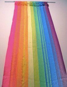 Handwoven Fiber Art Wall Hanging Rainbow of by weavingbyjk on Etsy, $250.00