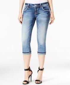 Miss Me Braided-Trim Rhinestone Capri Skinny Jeans