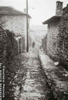 Metsovo Village - A view of the stone houses and paths of Metsovo village, Epirus (photo by Andrew Prokos) Black And White Drawing, Black And White Pictures, Places Around The World, Around The Worlds, Social Distortion, Fine Art Photo, Stone Houses, Homeland, Old Photos