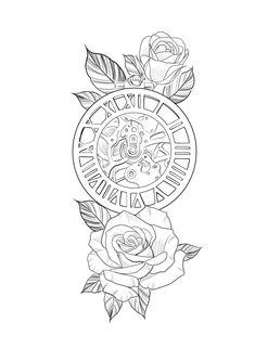 Half Sleeve Tattoo Stencils, Half Sleeve Tattoos Designs, Best Sleeve Tattoos, Card Tattoo Designs, Clock Tattoo Design, Tattoo Design Drawings, Tattoo Outline Drawing, Rose Drawing Tattoo, Line Art Tattoos
