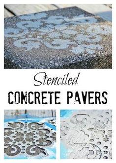 Stenciled Concrete Pavers - Thistlewood Farm by MyLittleCornerOfTheWorld