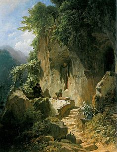 Carl Spitzweg - Music-making hermit before his rocky abode, Fantasy Art Landscapes, Fantasy Landscape, Landscape Art, Beautiful Landscapes, Landscape Paintings, Carl Spitzweg, Classic Paintings, Fantasy Setting, Traditional Paintings