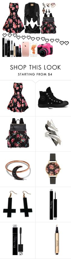 """Vidcon."" by anela67 ❤ liked on Polyvore featuring Converse, Max Azria, Madden Girl, NOVICA, Andrea Fohrman, Olivia Burton, Chicnova Fashion, Christian Dior, Shiseido and Pentax"