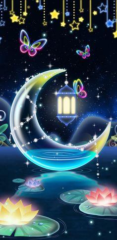 By Artist Unknown. Neon Wallpaper, Butterfly Wallpaper, Colorful Wallpaper, Wallpaper Backgrounds, Iphone Wallpaper, Butterfly Pictures, Beautiful Moon, Pretty Wallpapers, Kawaii