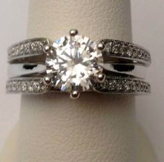 14kt White Gold Antique Vintage Cathedral Ring Diamonds Guard Solitaire Enhancer (0.35ct. tw) by RG&D