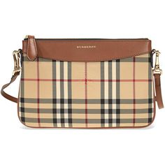 Burberry Horseferry Check Leather Clutch - Tan (1,375 PEN) ❤ liked on Polyvore featuring bags, handbags, clutches, tan leather handbags, genuine leather purse, real leather handbags, tan leather purse and beige leather handbags