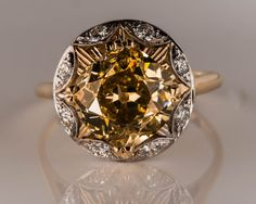 Circa 1880s *Aesthetic Era* Old Miner Cushion 3.88cts, Set in 1940s Mounting 14k 2-Tone YG/WG with Star Burst Transitional Cuts, ATL #229B