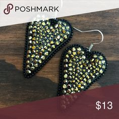 Black & Gold Rhinestone Heart Earrings Brand new black & sparkling gold rhinestone earrings. Tags: country girl cowgirl jewelry boots western jewelry earrings Boho gypsy tribal Aztec Navajo southern southwest western rodeo cowgirl style miss me dojo Bohemian Rhinestone jewelry bling Jewelry Earrings