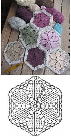 Crochet Hexagon Blanket, Crochet Bedspread Pattern, Granny Square Crochet Pattern, Crochet Diagram, Afghan Crochet Patterns, Crochet Squares, Crochet Chart, Crochet Motif, Diy Crochet