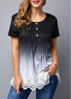 Hollow Ombre Plain t Shirt for Women Over XL Lace Patchwork Scalloped Hem Crinkle Chest T Shirt Stylish Tops For Girls, Trendy Tops For Women, T Shirts For Women, Turkish Clothing Online, Plus Size Dresses, Trendy Fashion, Womens Fashion, Colorful Shirts, Casual Outfits