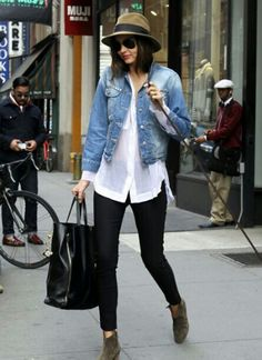 Denim jacket + white blouse + black leggins