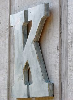 "2 Feet Rustic Wooden Letter K Distressed Painted White, 24"" tall Decor Cottage Wall Letter Decoration wedding guest book"