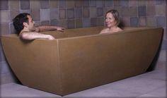 ♥ Concrete Bathtub for 2 ! Bath Remodel, Kitchen Remodel, Concrete Bathtub, Concrete Structure, Bath Fixtures, Concrete Countertops, Own Home, Plumbing, Oasis