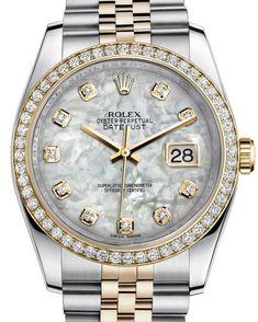 116243 mother of pearl diamond dial - Rolex Datejust 36 Steel and Gold - Yellow Gold Diamond Bezel - Jubilee - швейцарские женские часы Ролекс - наручные, стальные, золотые с бриллиантами, перламутровые Rolex Watches For Men, Luxury Watches For Men, Cool Watches, Wrist Watches, Body Jewelry Shop, Watches Photography, Gold Rolex, Swiss Army Watches, Expensive Watches