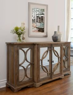 Shop for Kosas Home Snipe Distressed Reclaimed Wood Buffet Sideboard. Get free delivery On EVERYTHING* Overstock - Your Online Furniture Shop! Get in rewards with Club O! Glass Sideboard, Mirror Buffet, Sideboard Modern, Mirrored Sideboard, Sideboard Buffet, Mirrored Furniture, Antique Furniture, Glass Furniture, Furniture Removal