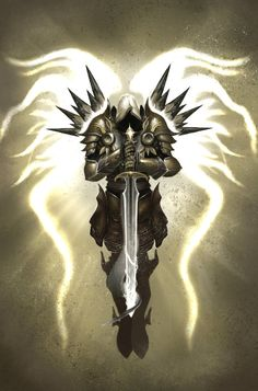 Tyrael, Archangel of Justice. Based on the depiction from the Book of Cain (Diablo 3). Done in Photoshop Cs5 3 days of on and off working, Total time unknown.