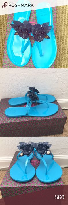 Tory burch blossom jelly thong sandal blue beautiful sandals never worn with box 12 Pm By Mon Ami Shoes Sandals