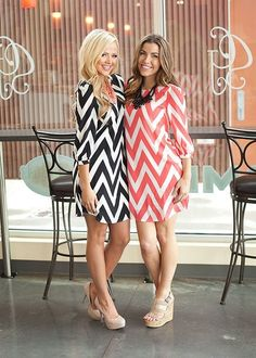 RED Zipper Back Chevron Dress,
