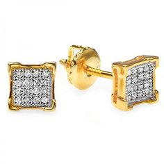 0.10 Carat (ctw) Round Diamond V-Prong Square Mens Hip Hop Iced Stud Earrings 1/10 CT - Jewelry For Her