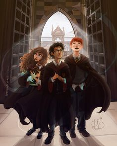 HP Trio - Hermione, Harry and Ron - On wizard day, have some wizard kids in their first day of wizard school